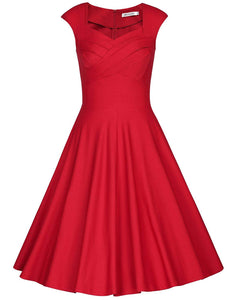 Women's 1950s Retro Vintage Cap Sleeve Party Swing Dress