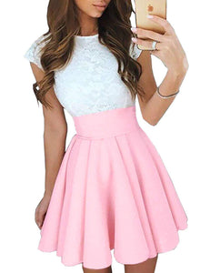 Women's Trendy Splicing High Waist Pleated Lace Mini A-line Dress