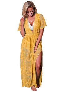 Women's Deep V-Neck Lace Romper Short Sleeve Long Dress