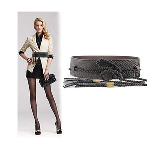VITORIA'S GIFT fashion Tassel Knot Black Gold Snake Skin Wide Belts For Women Ladies