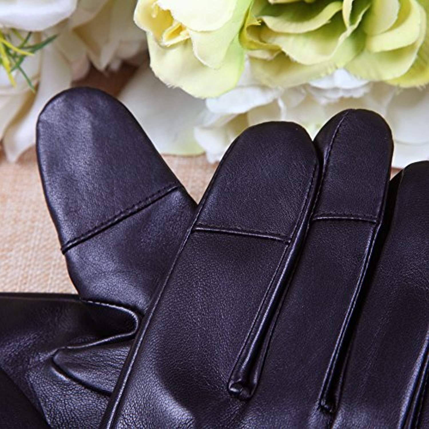 Mens Texting Touchscreen Winter Warm Nappa Leather Daily Dress Driving Gloves Wool//Cashmere Blend Cuff