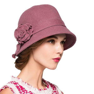 Maitose Trade; Women's Wool Felt Flowers Church Bowler Hats