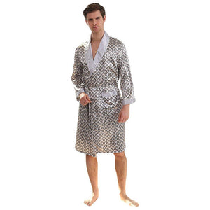 WEEN CHARM Men's Kimono Satin Luxury Robe with Pajama Shorts Loungewear Sleepwear Long Silk Bathrobe Boxer Short Set