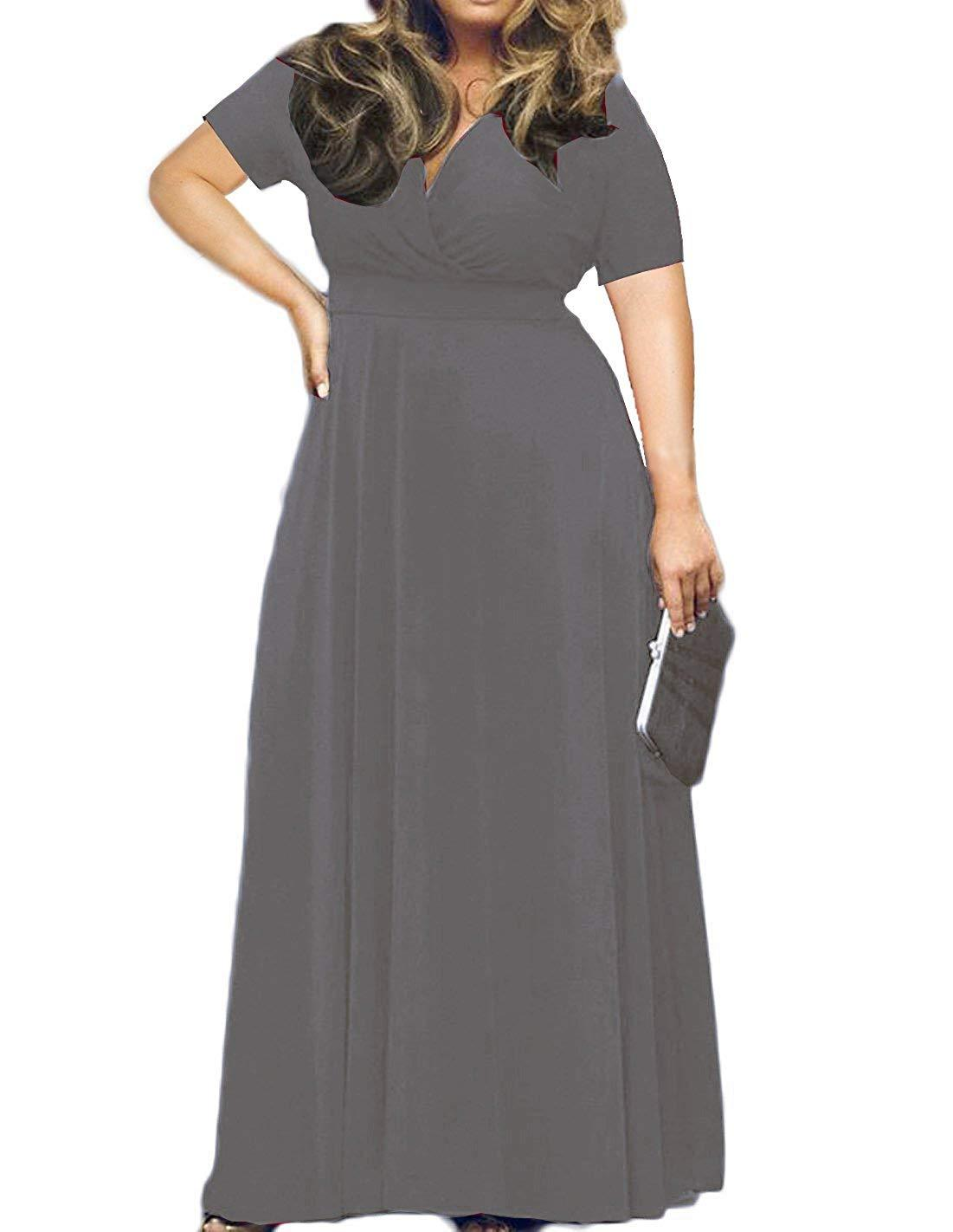 Women\'s Solid V-Neck 3/4 Sleeve Plus Size Evening Party Maxi ...
