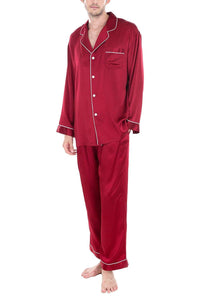 OSCAR ROSSA Men's Luxury Silk Sleepwear 100% Silk Pajamas Set
