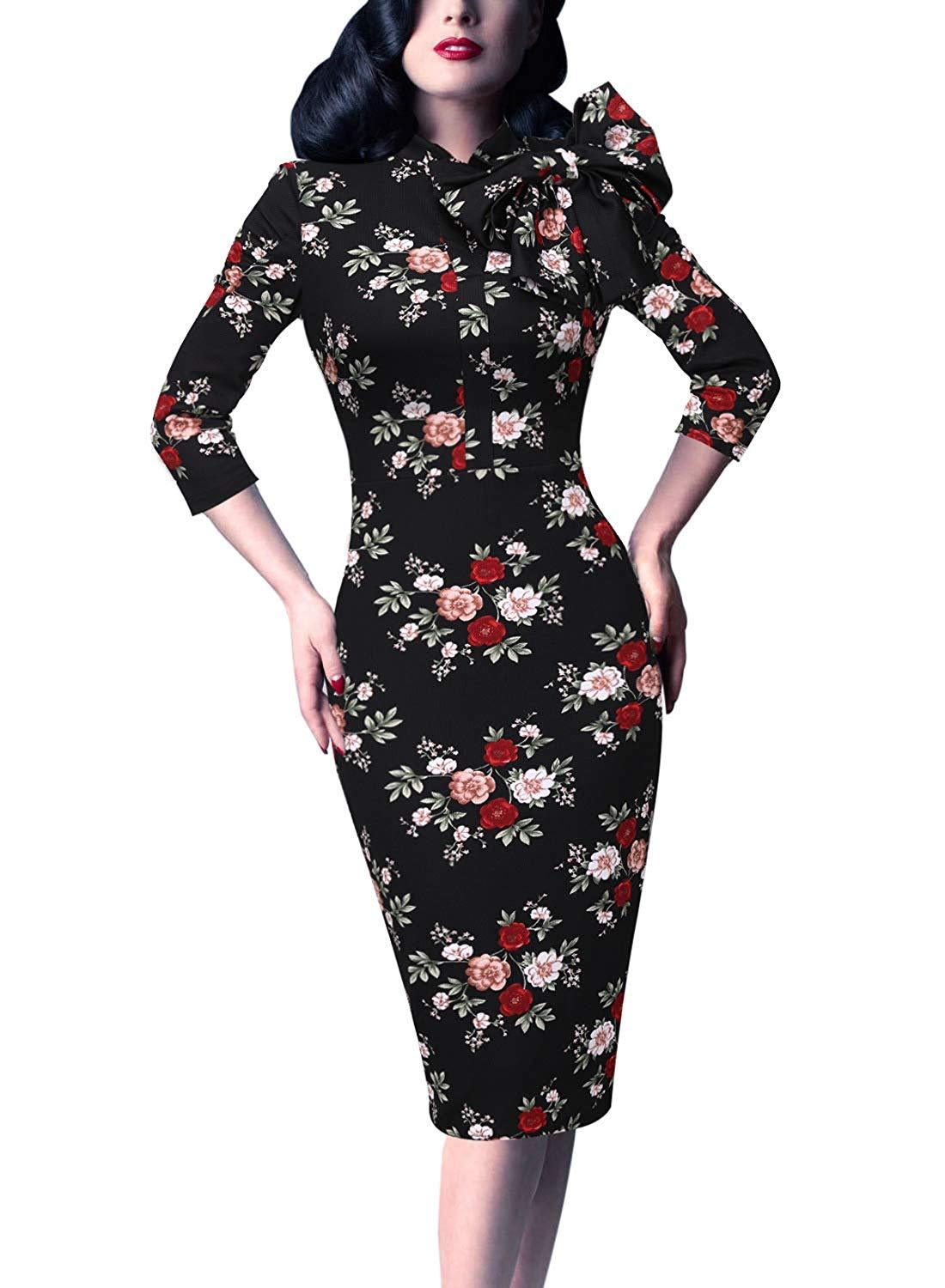 VFSHOW Womens Celebrity Vintage Bowknot Cocktail Party Stretch Bodycon Dress