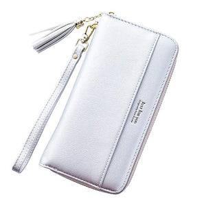 Cyanb Women Wallets Tassel Bifold Ladies Cluth Wristlet Wrist strap Long Purse