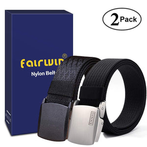 Fairwin Men's Military Tactical Web Belt, Nylon Canvas Webbing YKK Plastic/Metal Buckle Belt