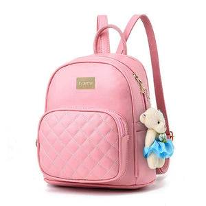 Cute Mini Leather Backpack Fashion Small Daypacks Purse for Women Beige