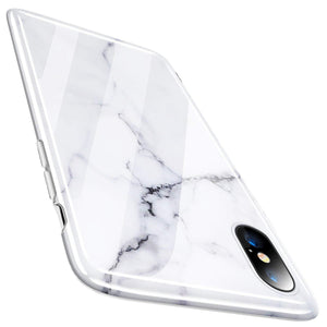 TORRAS Marble iPhone Xs Case/iPhone X Case, Ultra Thin Slim Glossy Soft TPU Rubber Gel Phone Case Cover Compatible with iPhone X/iPhone Xs(2018, 5.8''), White/Black