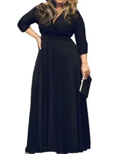 Women's Solid V-Neck 3/4 Sleeve Plus Size Evening Party Maxi Dress