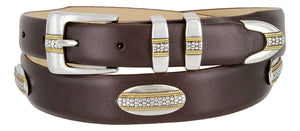 St. Andrews Gold - Genuine Italian Calfskin Leather Golf Dress Belt with Conchos