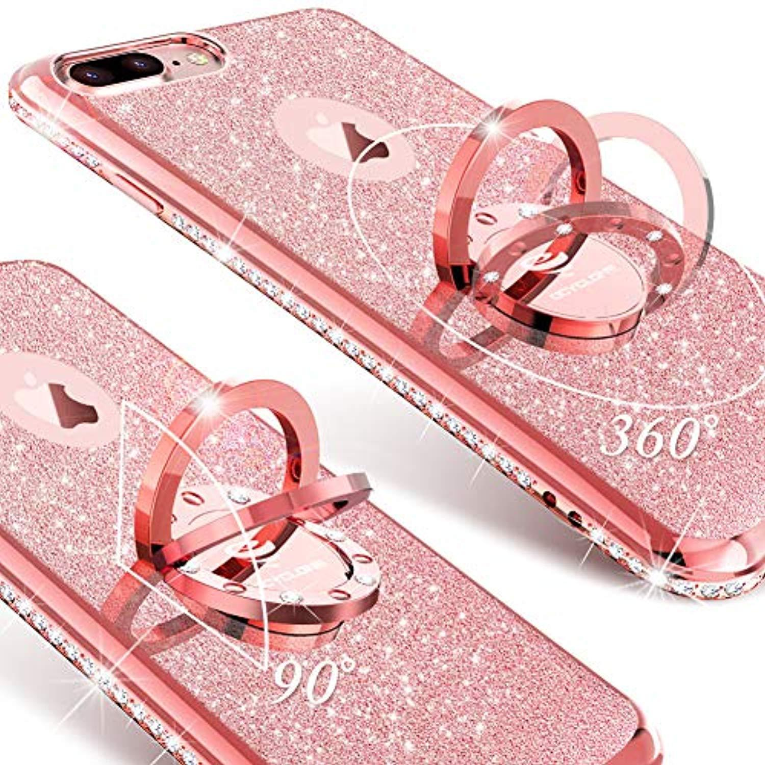 official photos b8494 67692 OCYCLONE iPhone 8 Plus Case, iPhone 7 Plus Case for Girl Women, Glitter  Cute Girly Diamond Rhinestone Bumper with Ring Kickstand Protective Phone  Case ...