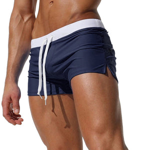 Sasairy Mens Swim Trunks Pants Swimwear Shorts Slim Wear Front Tie with Pocket at Back Side