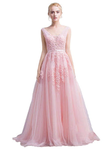 Women's Double V-Neck Tulle Appliques Long Evening Cocktail Gowns