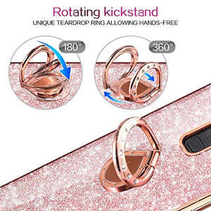 VEGO Galaxy S9+ Plus(NOT S9) Glitter Case with Ring Holder Kickstand for Women Girls Bling Diamond Rhinestone Sparkly Bumper Fasion Shiny Cute Protective Case for Samsung Galaxy S9 Plus (Rose Gold)