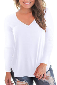 NIASHOT Women's Short and Long Sleeve V-Neck Loose Casual Tee T-Shirt Tops