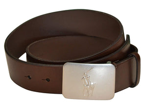 Polo Ralph Lauren Mens Big Pony Logo Plaque Leather Belt