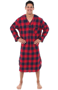 Alexander Del Rossa Mens Flannel Nightshirt, Long Lightweight Cotton Kaftan