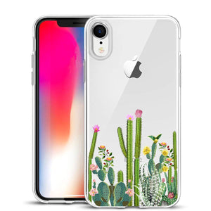 Unov Case Clear with Design Slim Protective Soft TPU Bumper Embossed Floral Pattern [Support Wireless Charging] Cover for iPhone XR 6.1 Inch(Flower Bouquet)