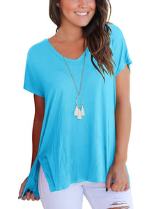 Aokosor Women's Short Sleeve High Low Loose T Shirt Basic Tee Tops with Side Split