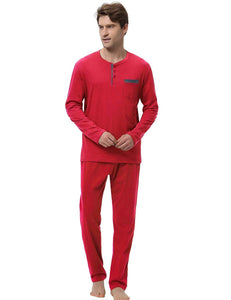 Hawiton Men's Pajama Pants Set 100% Cotton Long Sleeve Sleepwear Lounge