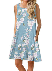 Womens Summer Floral Print Sleeveless/Long Sleeve Pockets Casual Loose Swing T-Shirt Dress
