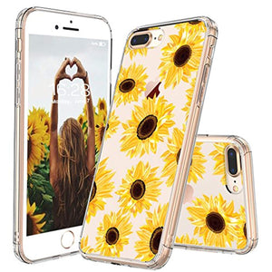 MOSNOVO iPhone 7 Plus Case, iPhone 8 Plus Case, Floral Flower Sunflower Pattern Clear Design Transparent Back Phone Case with TPU Bumper Case Cover for iPhone 7 Plus/iPhone 8 Plus