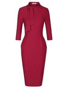 Women's Classic Vintage Tie Neck Formal Cocktail Dress with Pocket