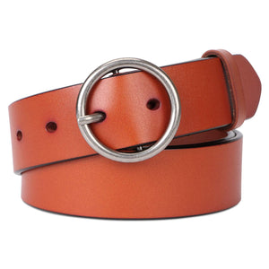 Fashion Women Leather Belt for Dress & Jeans With Classic Round Buckle By SUOSDEY
