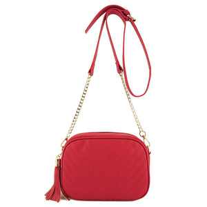Simple Shoulder Crossbody Bag With Metal Chain Strap And Tassel Top Zipper