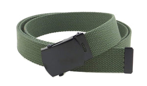 "Canvas Web Belt Military Style with Black Buckle and Tip 56"" Long Many Colors"