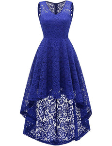 Women's Wedding Dress V-Neck Floral Lace Hi-Lo Bridesmaid Dress
