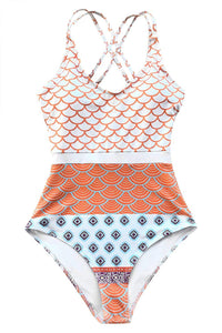 CUPSHE Women's Beautiful World Print One-piece Swimsuit High Waisted Swimwear