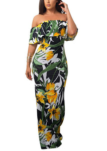 Vintage Ruffle Plain Floral Printed Off Shoulder Bodycon Long Party Maxi Dress