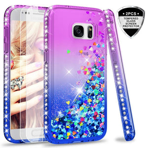 LeYi Galaxy S9 Case (Not Fit S9 Plus) with 3D PET Screen Protector [2 Pack] for Girls Women, Glitter Bling Sparkle Diamond Liquid Quicksand Flowing Phone Case for Samsung Galaxy S9 ZX Teal/Purple