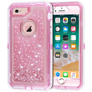 "iPhone 6S Case, iPhone 6 Case, Anuck 3 in 1 Hybrid Heavy Duty Defender Case Sparkly Floating Liquid Glitter Protective Hard Shell Shockproof TPU Cover for Apple iPhone 6 /iPhone 6S 4.7"" - Rose Gold"