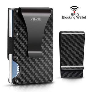 Carbon Fiber Wallet, Metal Money Clip Wallet, RFID Blocking Minimalist Wallet for Men