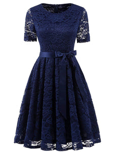 Short Bridesmaid Scoop Floral Lace Dress Cocktail Formal Party Dress