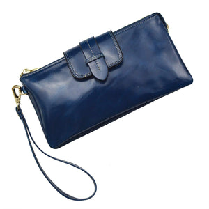 Bveyzi Women's Leather Smartphone Wristlet Clutch Wallet with Shoulder Strap