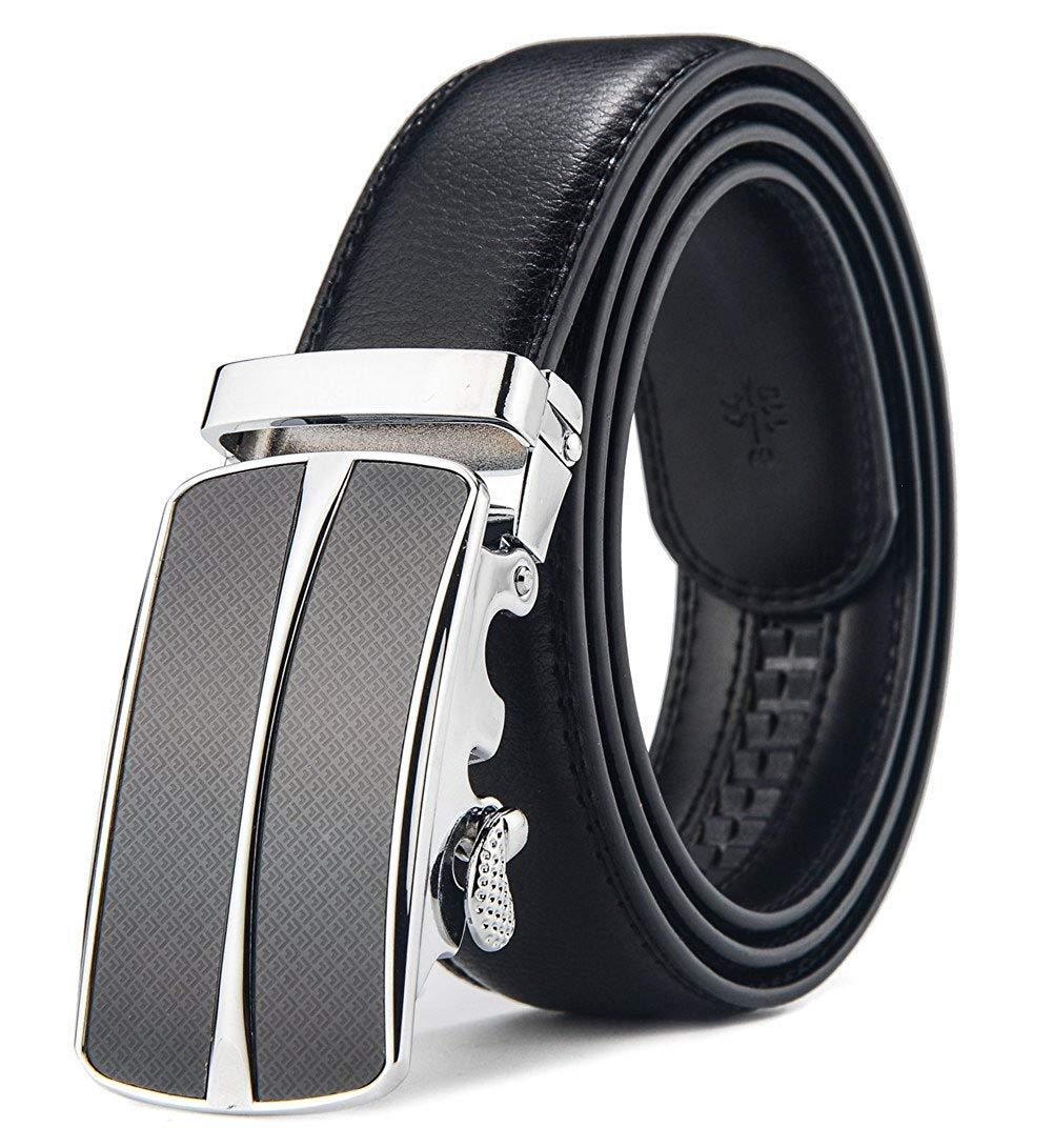 Mens Solid G Buckle with Automatic Ratchet Leather Belt 35mm Wide