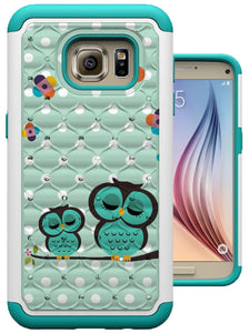 S7 Case, Galaxy S7 Case, MagicSky, Shock Absorption, Studded Rhinestone Bling Hybrid Dual Layer Armor Defender Protective Case Cover for Samsung Galaxy S7, Love