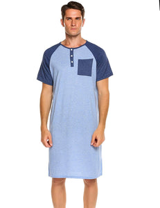 Ekouaer Men's Nightshirt Nightwear Comfy Big&Tall Short Sleeve Henley Sleep Shirt