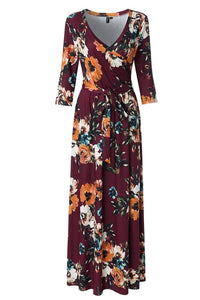 Womens 3/4 Sleeve Floral Print Faux Wrap Long Maxi Dress with Belt