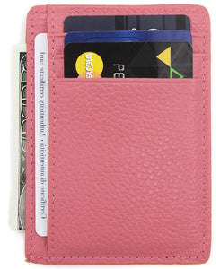 DEEZOMO RFID Blocking Genuine Leather Credit Card Holder Front Pocket Wallet With ID Card Window