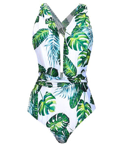 Begonia.K Women's Tropical Print Deep V-Neck Criss Cross Floral One Piece Swimsuit