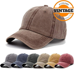 Unisex Vintage Washed Distressed Baseball-Cap Twill Adjustable Dad-Hat