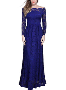 Women's Vintage Off Shoulder Floral Lace Long Sleeve Formal Maxi Dress