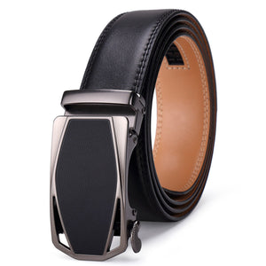 ITIEZY Men's Leather Ratchet Belt Automatic Sliding Buckle Designer Belt For Men