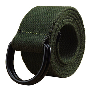 "Mens & Womens Canvas Belt with Black D-ring 1 1/2"" Wide Extra Long Solid Color Valentine's Day"